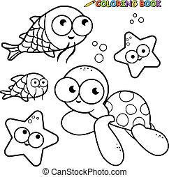 page., 着色, 動物, ベクトル, 黒, sea., 海, 白, 水泳
