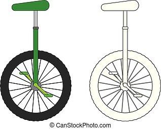 page., 着色, unicycle, ベクトル, illustration.