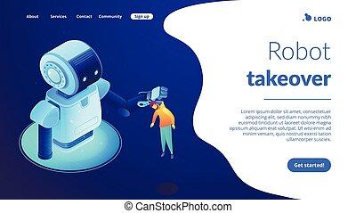 page., 等大, 相互作用, human-robot, 着陸, 3d