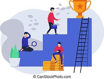 page., 網, 概念, success., ビジネス, カップ, winner., 仕事, career., チームワーク, チーム, 階段