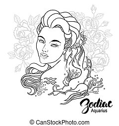 page., 著色, 寶瓶座, 插圖, flowers., 書, 矢量, 設計, 女孩, zodiac.