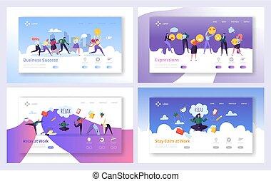 page., 集合, 想法, 成長, 网, 媒介, concept., communication., 配合, 網站, 套間, 事務, 放鬆, 著陸, 集中, 插圖, 卡通, 成功, 工作, 解決, 或者, 矢量, 社會, 商人, 頁