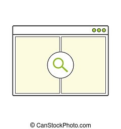 page., aberta, internet, janela, em branco, browser