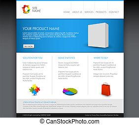 page accueil, vecteur, gabarit, moderne, produit