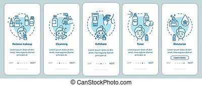 page, app, mobile, onboarding, écran, concepts, skicare