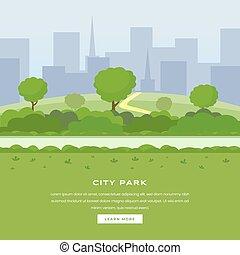 page., area., na wolnym powietrzu, drapacze chmur, kolor, nowoczesny, cityspace, miasto, rekreacyjny, homepage, publiczność, website, miejski, ogród, wolny czas, natura, park, lądowanie, pasaż, drzewa, botaniczny, krzaki, park, wektor, zielony