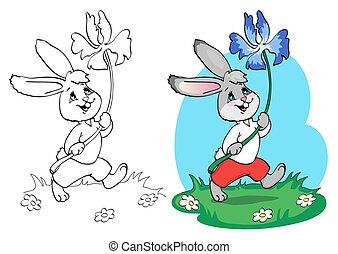 page., azul, colorido, camisa, flower., calzoncillos, libro, conejo, blanco, o, rojo