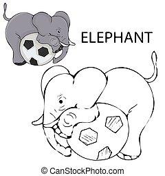 page., bébé, art, illustration, esquissé, elephant., vecteur, coloration, ligne