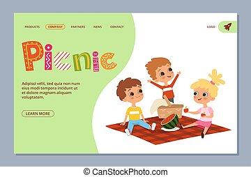 page., bambini estate, picnic, atterraggio, vettore, caratteri