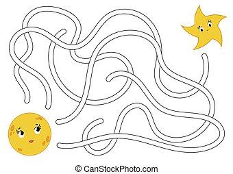 page., bambini, maze., aiuto, conundrum., colorare, portata, astratto, star., puzzle, luna, labirinto, gioco, vettore, attività, children., cartone animato, worksheets., style., illustration.