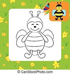 page, bee., mignon, coloration, dessin animé