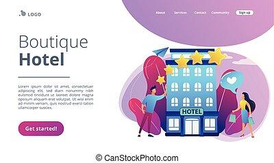 page., boutique, concept, atterrissage, hôtel