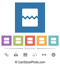 Page break flat white icons in square backgrounds