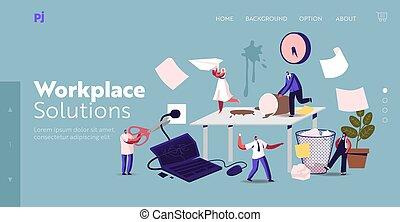 page, caractères, date limite, haut, ouvriers, chaos, hâte, lieu travail, template., accentué, bureau, échec, inquiet, business, atterrissage