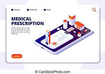 page., cliente, isometrico, concetto, atterraggio, farmacia, vettore, sanità, medicina, drugstore., farmacista, pillole, acquisto, 3d