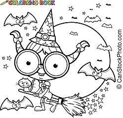 page., coloration, broom., voler, halloween, vecteur, sorcière, noir, blanc
