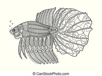 page., coloration, fish, combat, main, dessiné