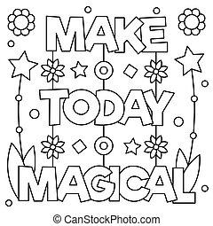 page., coloration, illustration., faire, vecteur, magical., aujourd'hui