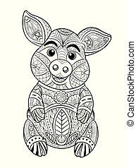 page., coloration, illustration., main, vecteur, dessiné, cochon