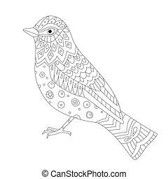 page, coloration, ton, joli, oiseau