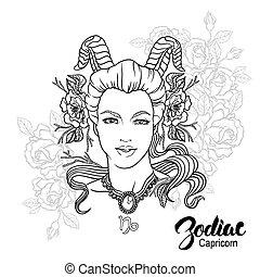page., colorido, capricornio, ilustración, flowers., libro, vector, diseño, niña, zodiac.