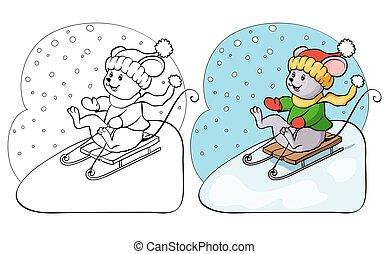 page., colorido, culo, libro, sled., ratón, o