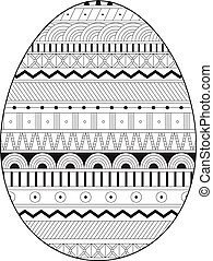 Page coloring for adults. Easter egg with geometrical pattern