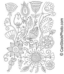 Page coloring for adults, floral design, anti-stress ...