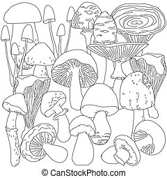 Page coloring for adults with mushrooms