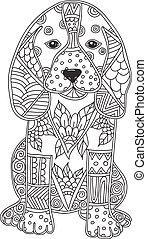 page., coloritura, cane, bambini, adulto, o, antistress