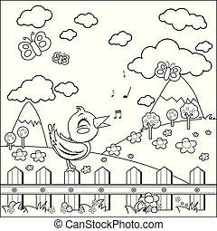 page., coloritura, recinto, seduta, countryside., vettore, nero, bianco, uccello canta