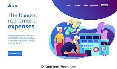 page., concept, tussenverdieping, kosten, gezondheidszorg, pensioentrekkeren
