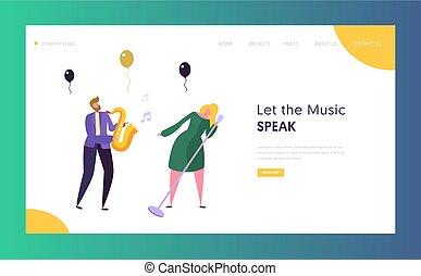 page., concetto, concerto, mostra, immagine, capelli, saxophone., femmina, web, carattere, biondo, sito web, appartamento, jazz, colorito, musicista, illustrazione, banda, atterraggio, cartone animato, cantante, vettore, divertimento, o