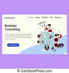 page., consultant, compagnie, business, problèmes, atterrissage, complexe, résoudre