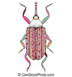 page., croquis, coloration, griffonnage, coloré, coléoptère, isolé, main, stylisé, arrière-plan., antistress, dessin animé, adulte, zentangle, dessiné, insecte, blanc, zentangle.