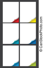 page curl - Vector set of bent page corners. One matt and...