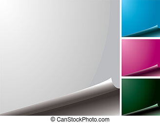 four color variations of a blank page with the edge curl