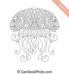 page., décoratif, coloration, griffonnage, ornament., illustration, élément, livre, vecteur, stylique floral, dessin animé, méduse