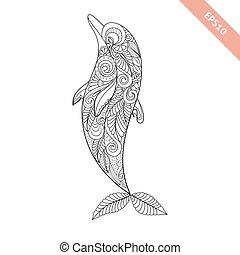 page., décoratif, coloration, ornament., griffonnage, dauphin, illustration, élément, livre, vecteur, stylique floral, dessin animé