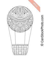 page., decoratief, kleuren, floral, doodle, balloon,...