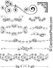 set of calligraphic ornaments in vector format very easy to edit, individual objects