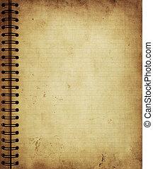 page, depuis, vieux, grunge, cahier