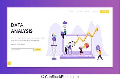 page., desenvolvimento, pessoas negócio, marketing, personagem, mapa, aterragem, pesquisa, analisando, análise, estratégia, dados, plano