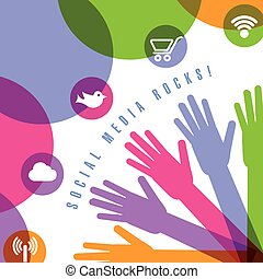 Page design using social media icons and hands - A page...