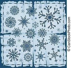 page., différent, ensemble, vieux, flocons neige, sur, endommagé