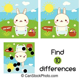 page., differences., bambini, game., caccia, bambini,...