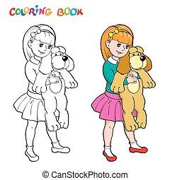 page., dog., kleurend boek, speelbal, meisje, of