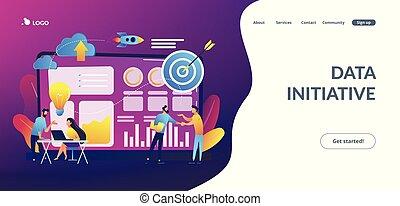 page., données, concept, initiative, atterrissage