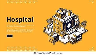 page., edificio, isométrico, hospital, clínica, aterrizaje