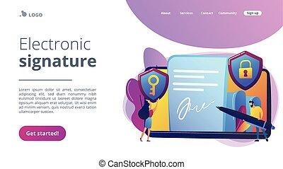 page., electrónico, firma, aterrizaje, concepto